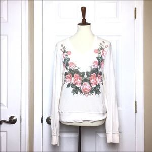 Wildfox Cream V-Neck Pullover Sweater with Roses